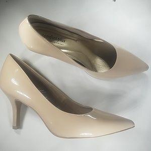 """Beige, nude, comfort plus, memory foam 3"""" heels"""